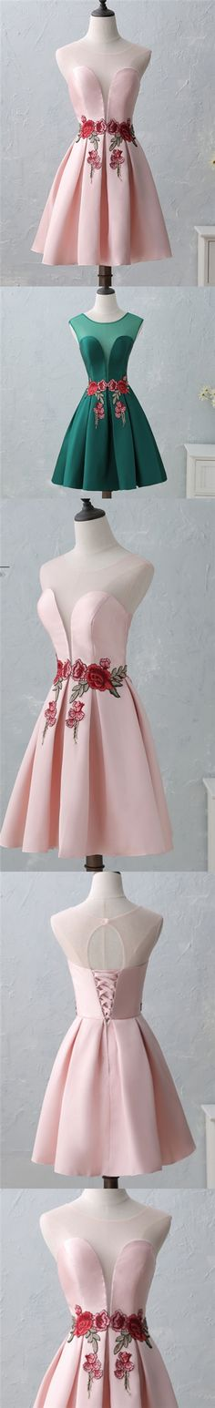 Chic Sexy Homecoming Dress Scoop Satin Appliques Short Prom Dress Party Dress JK325