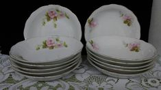12 antique Hermann Ohme Silesia German pink rose porcelain china dessert bowls by rummagechicboutique on Etsy