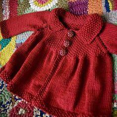 Ila Sweater no pattern Crochet Baby Dress Pattern, Baby Dress Patterns, Baby Knitting Patterns, Knitting Stitches, Knit Crochet, Knit Baby Sweaters, Knitted Baby Clothes, Pull Bebe, Baby Coat