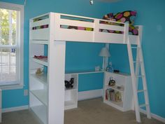 Complete plans for building this beautiful loft bed that has both a desk and bookcase beneath it. How perfect for a kids room!