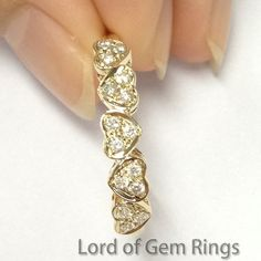 Diamond Wedding Band Anniversary Ring 14K Yellow Gold Unique 5 Hearts Shaped - Lord of Gem Rings - 1