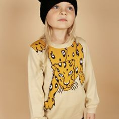 My daughter's favorite animal - Snow Leopard Sweater from Mini Rodini.