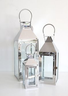 Afloral Set of 3 Decorative Silver Metal Candle Lanterns Floor Lanterns, Lanterns Decor, Candle Lanterns, Glass Candle, Votive Candles, Lantern Set, Lantern Candle Holders, Silver Lanterns, Silver Candles