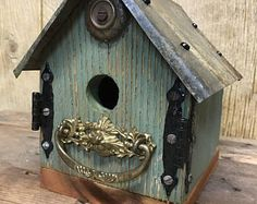 Rustic folk art birdhouse, barnwood, antique hardware, vintage