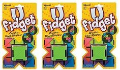 21 multi-colored 2' hinged triangles. When folded U Fidget measures 2' x 2' x 2'...