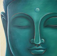 """""""Large Blue Green Buddha"""" Painting by Gayle"""