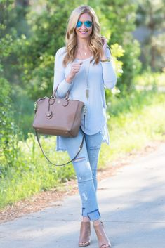 Free People spring top and distressed denim with nude peep toe booties. Haute & Humid - Effortless Fashion, Every day