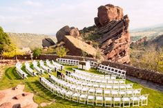 What a #jawdropping, #weddingvenue!  Alexis + Tim's naturally stunning outdoor wedding at Red Rocks Park and Amphitheatre outside of Denver, Colorado  #coloradomountains