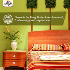 Get some green in your home, like a plant or a lamp, and feel the fresh energy that makes way to your home. Feng Shui Tips For Home, Feng Shui Colours, Make Way, The Fresh, Plant, Bed, Green, Color, Furniture