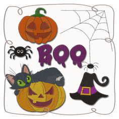 Halloween Set Machine Embroidery Design Pattern-INSTANT DOWNLOAD Halloween Designs, Machine Embroidery Designs, Pattern Design, Kids Rugs, Christmas Ornaments, Holiday Decor, Projects, Xmas Ornaments, Blue Prints