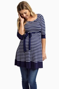 Every closet needs a classic, versatile, and timeless striped piece and this ¾ sleeve maternity tunic is the best one to fit into your fall wardrobe. Style with a maternity leggings and tall boots for a comfortable, casual look every day.
