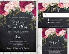 Navy Burgundy Wedding Invitation Printable Wedding Invitation