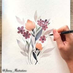 Spring watercolor flowers art - Handmade Everything Watercolor Paintings For Beginners, Watercolor Drawing, Floral Watercolor, Watercolor Trees, Watercolor Artists, Watercolor Portraits, Watercolor Background, Watercolor Landscape, Art Floral