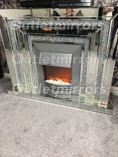 * Diamond crush sparkle Mirrored Fire Surround with electric fire with free deliveryFire Surrounds - Outlet mirrors the mirror, mirrored furniture & wall art specialists Diamond Furniture, Mirrored Bedroom Furniture, Entry Furniture, Home Decor Furniture, Glass Furniture, Furniture Stores, Glam Living Room, Glam Bedroom, Home Decor Bedroom