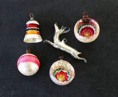 Very Merry  Vintage Ornaments  Glass  Indent  Home by becaruns