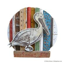 Pelican with Nautical Colors Rescued Wood Construction | Dolan Geiman