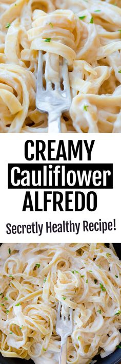 This delicious secretly healthy cauliflower alfredo sauce recipe is a huge reader favorite, and no one can ever believe it isn't full of fat and calories! Easy Baking Recipes, Easy Healthy Recipes, Whole Food Recipes, Vegetarian Recipes, Cooking Recipes, Healthy Sauces, Vegan Sauces, Healthy Lunches, Dinner Healthy