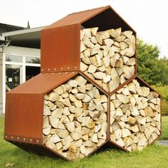 Harrie Leenders Woodbee Corten Steel Outdoor Log Store - From Fireplace. Firewood Shed, Firewood Storage, Storage Racks, Log Shed, Steel Sheds, Garden Shed Diy, Log Store, Garden Table And Chairs, Small Pools