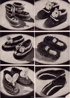Vintage Crochet Pattern Booklet 1940's Slippers With by Mrsdepew