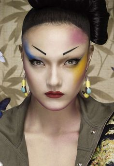Yumi Lambert is a 'Pop Geisha' for Jalouse March 2013 by Erwin Olaf Crystal Renn, Erwin Olaf, Geisha Hair, Pop Magazine, Alternative Makeup, Img Models, Cover Model, Japanese Fashion, Japanese Style
