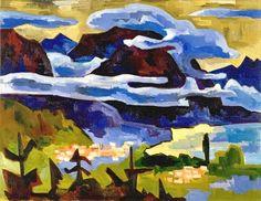 Karl Schmidt-Rottluff - Rain Clouds over Lake Garda 1927 Landscape Art, Landscape Paintings, Landscapes, Small Paintings, Schmidt, Blue Rider, Degenerate Art, Ernst Ludwig Kirchner, Tinkerbell