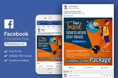 Tour & Holidays Facebook Post Banner by Design Up on @creativemarket