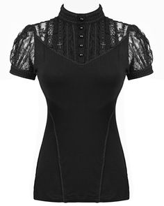 Stunning black gothic lolita style top by Punk Rave, in soft stretchy black jersey cotton fabric with lace contrasts.