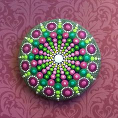 Jewel Drop Mandala Painted Stone- sea urchin cherry blossom love