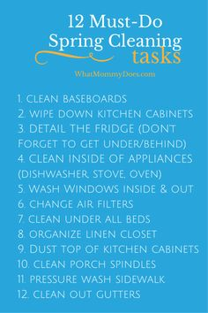 Spring Cleaning To Do List - 12 tasks to definitely include in your spring cleaning chore lists plus 3 awesome printable household chore checklists to help you out!