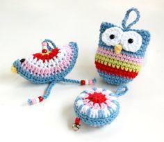 Crochet Christmas Ornaments crochet bird owl by HopscotchLane