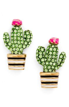 Playful and polished, these light-catching studs are designed after sun-loving cacti dusted with sparkling crystals.