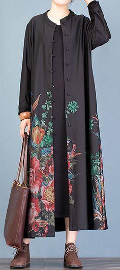 Elegant casual coat fall women coats black prints trench coats Cardigans For Women, Coats For Women, Fancy Kurti, Fashion Dresses, Fashion Coat, Maxi Coat, Plus Size Coats, Plus Size Casual, Sweater Coats