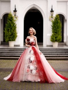 [Hot Item] Flower Pink and Red Tulle Prom Party Evening Ball Gown Quinceaner Dress Wedding Dress Ball Gown Dresses, Evening Dresses, Prom Dresses, Super Cute Dresses, Nice Dresses, Beautiful Dresses, Pink Dress, Flower Girl Dresses, Vintage Ball Gowns