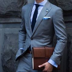a4d9feae1 Grey slim fit suit with blue offsets. Very classy #suit #stylish #menssuit