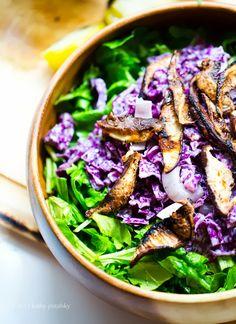 Salsa Verde Salad: Spicy Avocado-Tomatillo Dressing + Mushrooms.