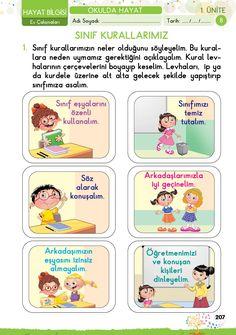 1. Sınıf Konu Anlatım EV ÇALIŞMALARI School Decorations, First Grade, Etiquette, Worksheets, Kindergarten, Preschool, Classroom, Student, Science