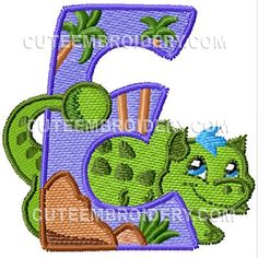 Jurassic Dinosaur Font - Cute Alphabets - Embroidery Fonts