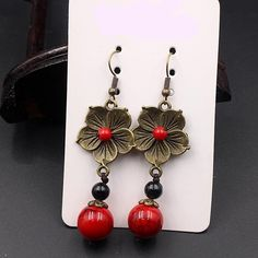 Vintage Flower Red Stone Ethnic Copper Earrings Copper Earrings, Drop Earrings, Shape Patterns, Vintage Flowers, Bird Feeders, Types Of Metal, Fashion Earrings, Ethnic, Stone