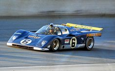 A closer look at the Roger Penske built, Kirk F. White and Sunoco sponsored Ferrari 512M at the 1971 24 Hours of Daytona. The driver is Mark Donohue as you can clearly see through the wind screen. His co-driver was David Hobbs