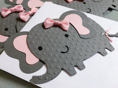 Elephant Baby Shower Invitation Elegant Bows Elephant Birthday Party It's a girl it's a boy set of 10 by FiggiDoodles on Etsy