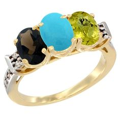 10K Yellow Gold Natural Smoky Topaz, Turquoise & Lemon Quartz Ring 3-Stone Oval 7x5 mm Diamond Accent, size 6.5, Women's