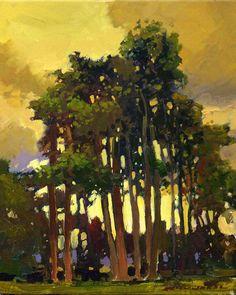 Jan Schmuckal - tonalism - impressionism - yellow, gold sky, tall trees, brown, green, clouds, sunset