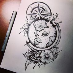 #globe #wind rose #flower #tattoo #style #sketchbook