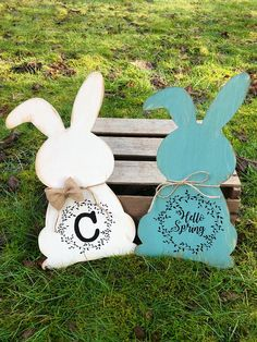 What better way to welcome spring than with this little bunny? Such a cute way to greet your visitors. These spring door hangers make the perfect addition to your front door or can also be used with other Easter decorations. You have the option to personalize the message on the