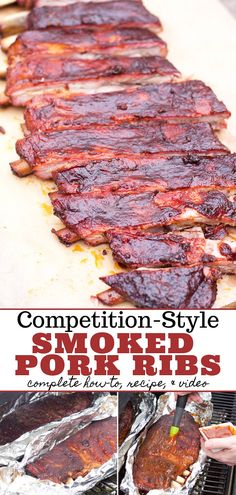 """Style Smoked Pork Ribs How to make competition style smoked pork ribs, and an explanation of the Method"""" of smoking ribs.How to make competition style smoked pork ribs, and an explanation of the Method"""" of smoking ribs. Boneless Pork Ribs, Pork Ribs Grilled, Grilled Steak Recipes, Pork Loin Back Ribs, Bbq Pork Ribs, Pulled Pork, Ribs On Smoker, Ribs On The Grill, 3 2 1 Ribs"""