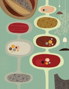I love these abstract mid-century inspired prints by JennSki on etsy.