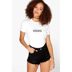 Boohoo Sarah XOXO Slogan T-Shirt ($14) ❤ liked on Polyvore featuring tops, t-shirts, white, long sleeve crew neck tee, white crop top, basic white tee, white t shirt and high neck crop top