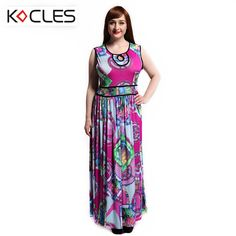 Plus Size 6 7XL Summer Women Bohemian Elegant Maxi Dress Contrast Tunic Fit and Flare Print O Neck Sleeveless Boho Beach Dress ** Click image to review more details.