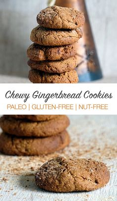 Replace arrowroot and sweet potato. Soft & chewy gingerbread cookies that are paleo, gluten-free and nut-free. These do contain coconut flour! Perfect Christmas cookies that are also a little healthy and contain sweet potato. Paleo Dessert, Paleo Sweets, Healthy Desserts, Dessert Recipes, Paleo Recipes, Healthy Foods, Paleo Cookies, Gluten Free Cookies, Gluten Free Desserts