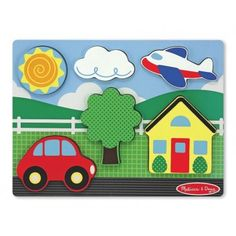 Melissa And Doug Chunky Scene - Yellow House Wooden Puzzles, Wooden Toys, Toys For Little Kids, Puzzles For Toddlers, Thing 1, Yellow Houses, Melissa & Doug, Gift Finder, Creative Play